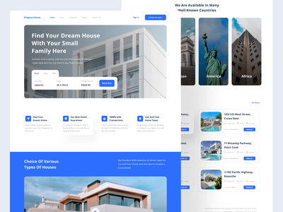 Enigma Home - Real Estate Landing Page typography website landing page web design ui design ui design clean rent realestate home property real estate