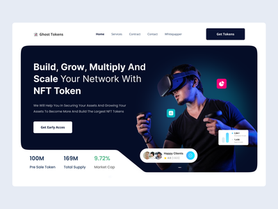 👻 NFT Landing Page Concept nfts coin bitcoin crypto exchange cryptocurrency tokens nft web typography website landing page web design ui design ui design clean