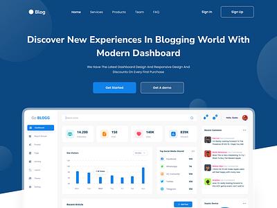 SaaS Blog Landing Page blogging blogger landing page website web design ui ui design design clean