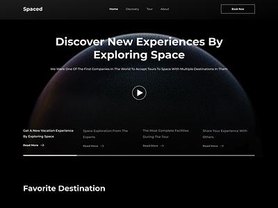 Space Travel Landing Page moon travelling travel spaced darkmode dark mode landing page website web design ui design ui design clean space