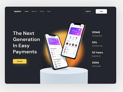 NgeBank | Digital Bank Hero dark dark mode finance digital wallet bank hero landing page website web design ui design ui design clean