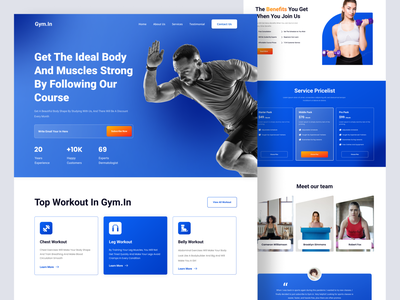 Workout Landing Page fitness gym medical healthy health workout landing page website web design ui design ui design clean