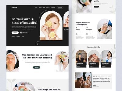 Nyantik - Dermatology Landing Page medicene medical darkmode care dermatology health landing page website ui web design ui design design clean
