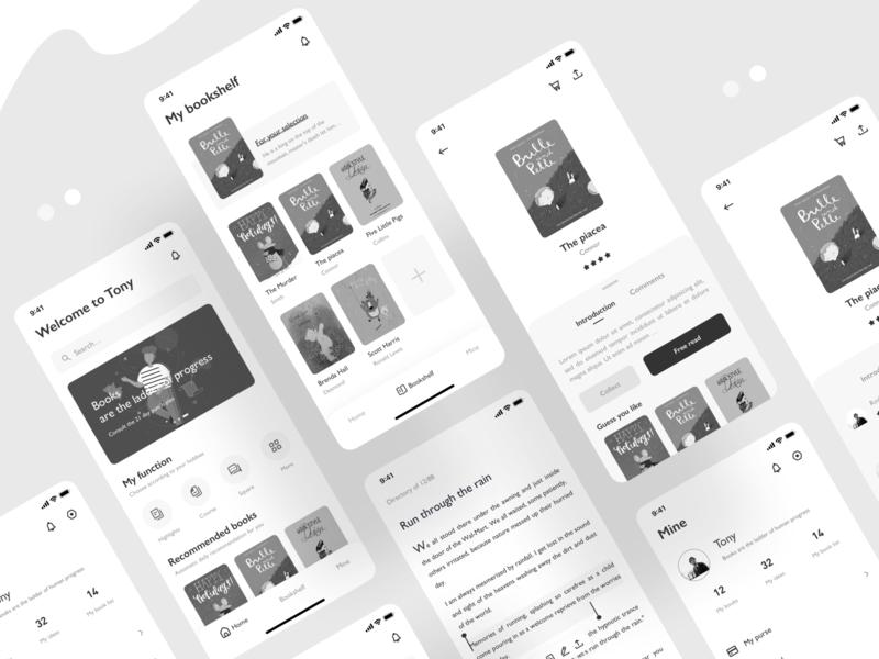 Read app black  white reader reading app reading read dark app mobile ui mobile icon app ux ui design