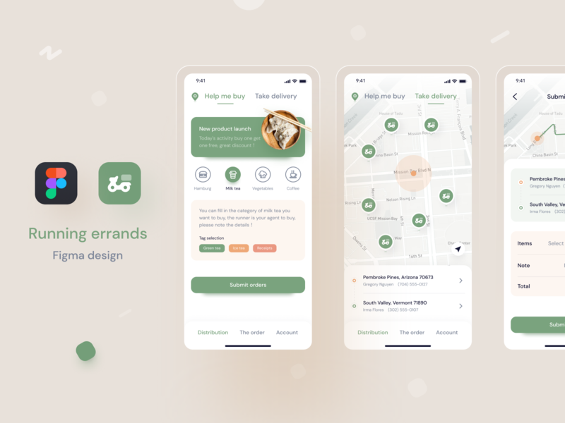 Distribution app mobile design green figma design take-out distribution app distribution mobile icon app ux ui design