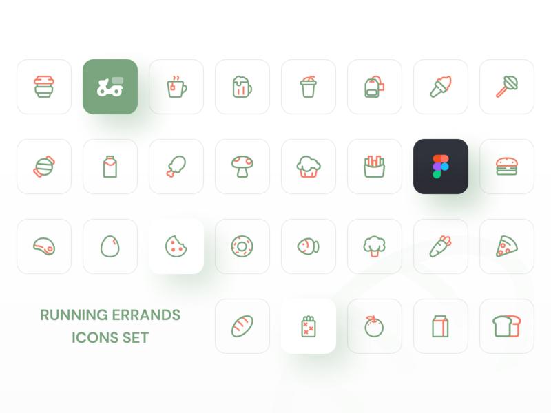 Icon set icon design green logo green distribution icon set illustration mobile icon app ux ui design