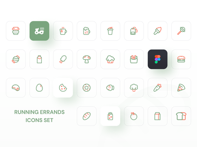 Icon set icon design green logo green distribution icon set illustration mobile icon app ux ui design