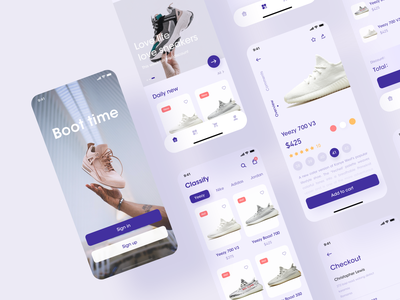 Shoes sell app purple electricity seller sell shoes app shoes mobile ui mobile app ux ui icon design