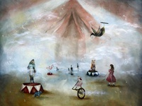 Circus oil painting