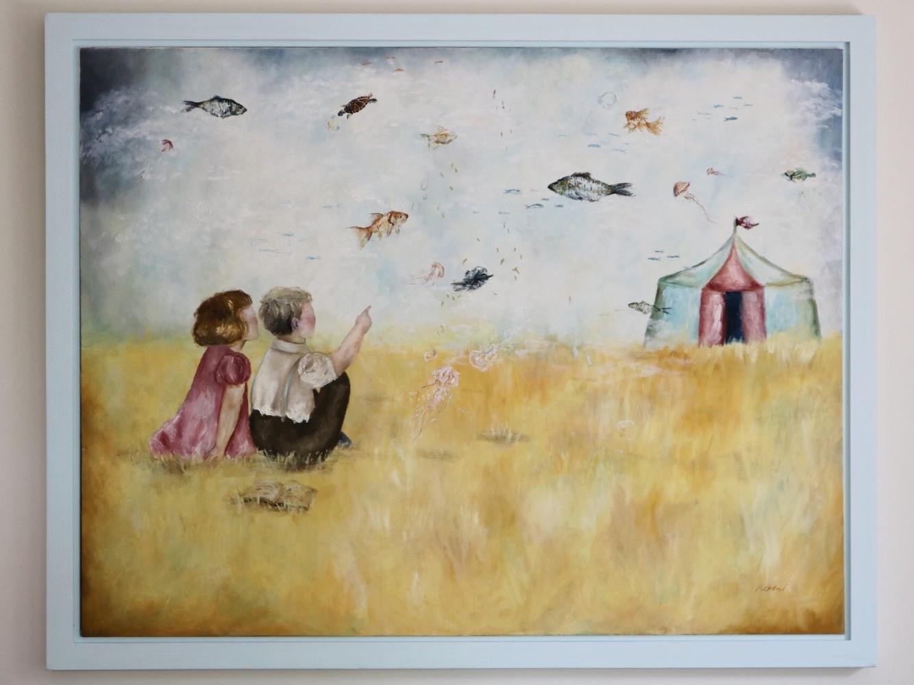 Flying Fishes pop surrealism oilpainting oil paint original art art
