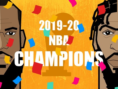 NBA CHAMPIONS flat illustration championship nba finals portrait anthony davis lebron james nba