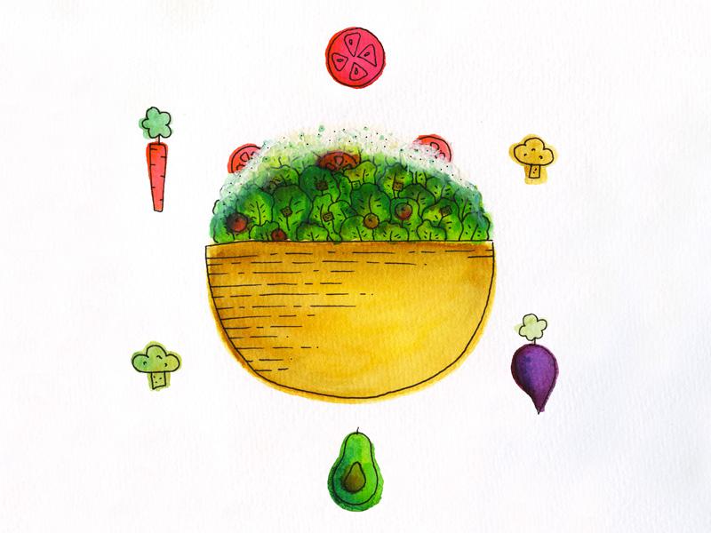 salad color hand drawn drawing pen watercolor illustration food farm green healthy veggies salad