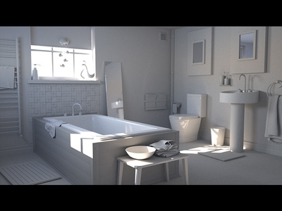 Bathroom- clay render