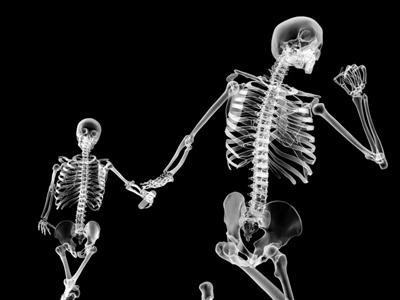 Xray skeletons, relay race - cinema4d render