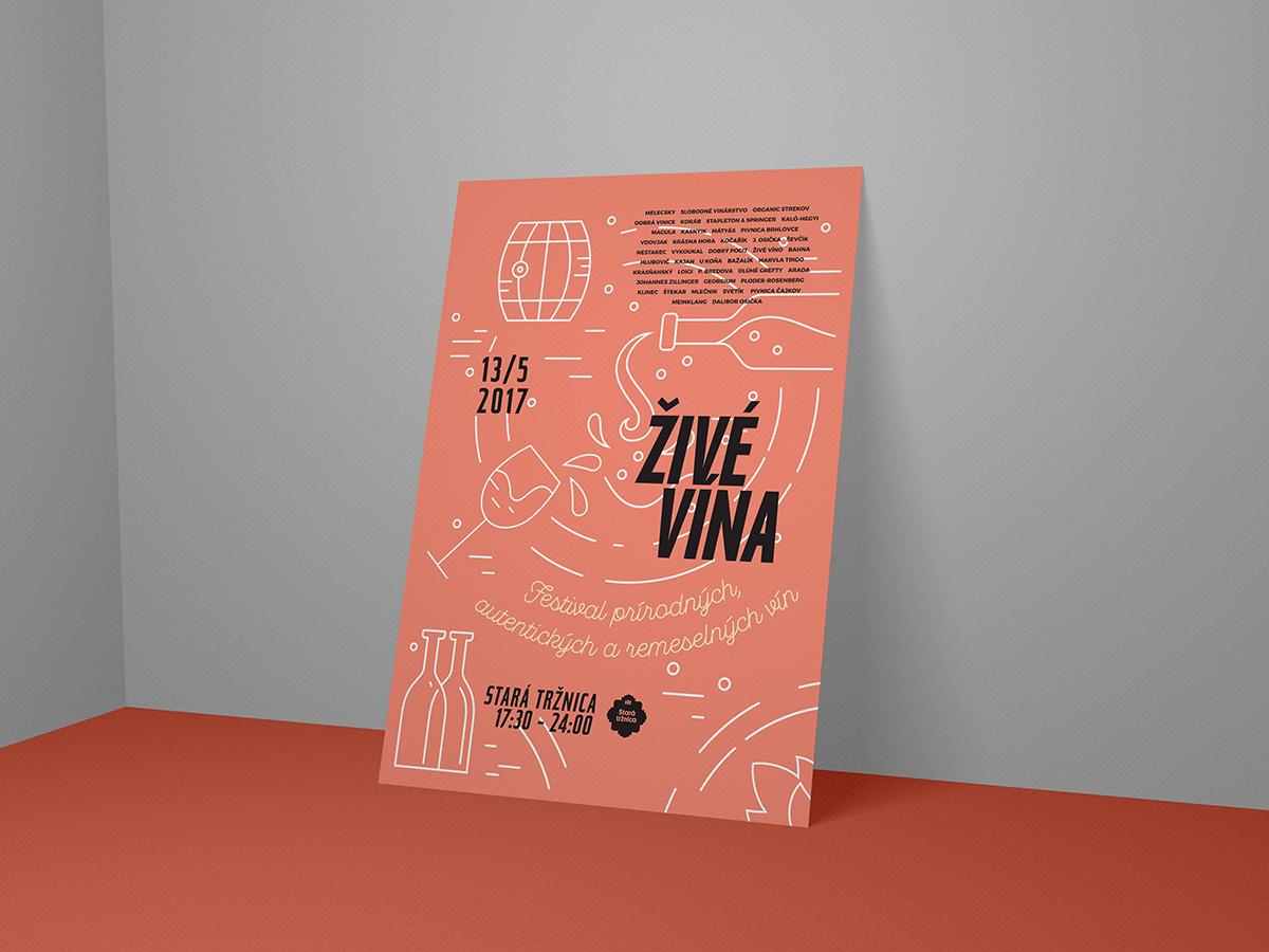 Visual for Festival of artisan wines Živé Vína festival poster visual  identity key visual flyer artwork flyer poster collection poster vector design illustration