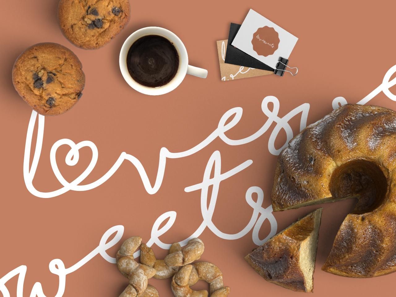 Concept for Lovesweets bakery bakery logo mockup design typography branding design