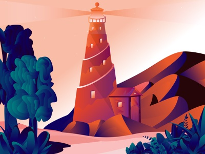 Light House Illustration web print mobile forest mountain orange red lighthouse brand animation ux ui graphic design vector flat design branding illustration
