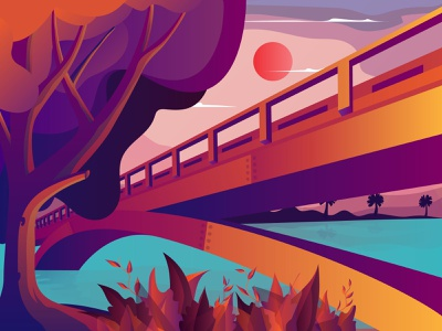 landscape Bridge Illustration landingpage landscape sun red color mobile logo art web brand vector ux ui flat graphic design design branding illustration