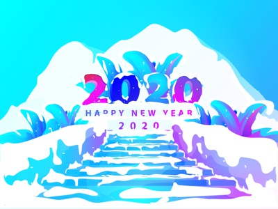 2020 Happy new year (Winter) flower illustration mountain colorful happy new year iceberg iceland ice 2020 trend mobile web app design branding vector ux ui flat illustration 2020