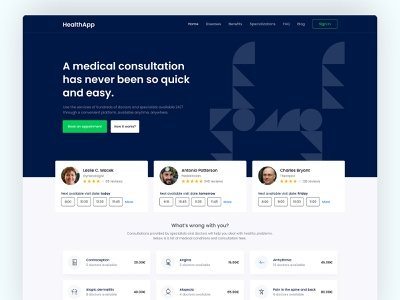 HealthApp illustration website web design web ux ui minimal flat design app