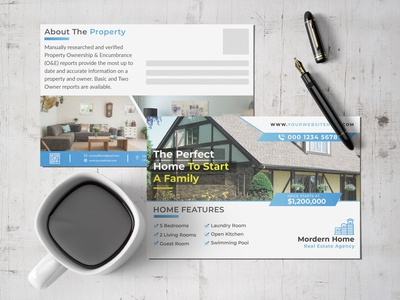Clean And Modern Real Estate & Property Postcard Template