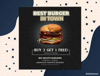 Burger Ads For Social Media Template