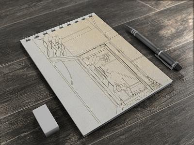 interior sketching pool beachresort mockup interiors interior design