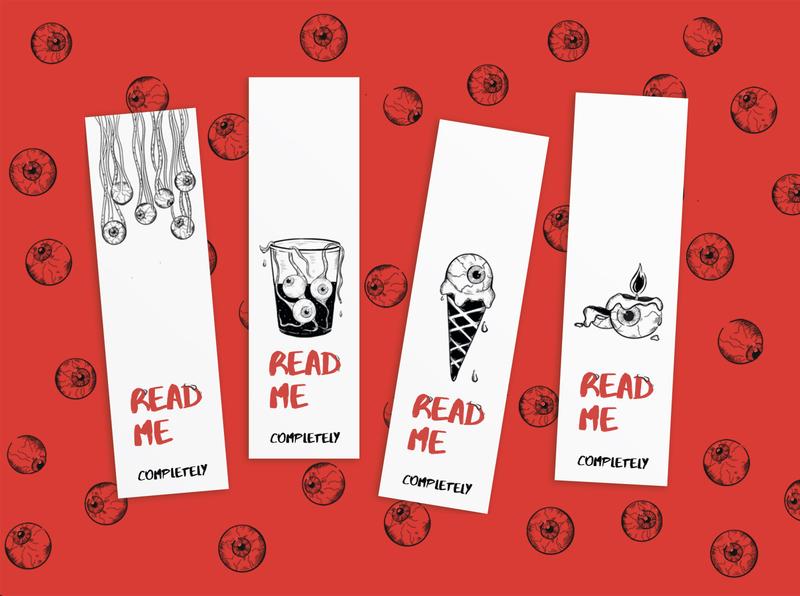 Eyes Bookmarks branding flat art red black design trash reading eyes eye bookmark book illustraion