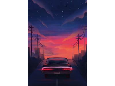 Retro poster color procreate photoshop digital bright sky night car poster illustration