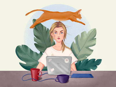 My working day designer lifestyle emotions stayhome remote work self-isolation self portrait cup portrait dots cat plant laptop home work workspace girl art cartoon illustration