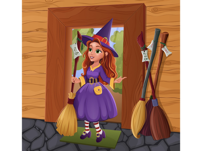 Little witch broom girl character cartoon disney witch vector adobe illustrator illustration