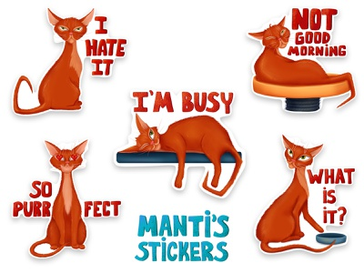 Manti's stickers cartoon character art scketch abissinian lazy funny cat sticker illustration