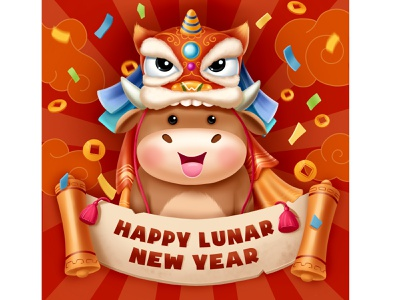 Happy lunar new year! lunar new year holiday bull dragon red china chinese new year new year cartoon art illustration