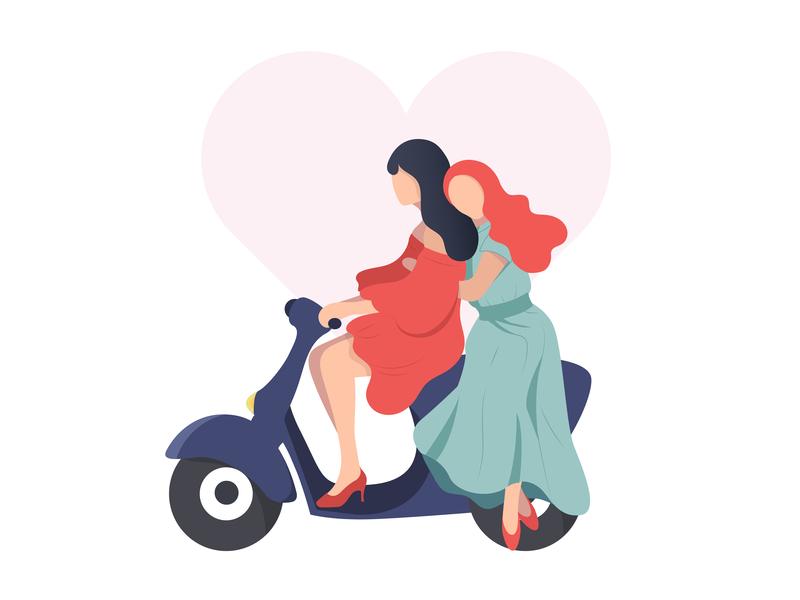Different love adobe illustrator heart love bike girl cartoon character flat vector logo illustration