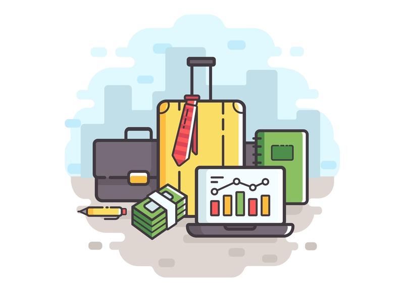 Business travel illustration vector adobe ilustrator flat package pack case laptop business baggage tourism travel illustration art line