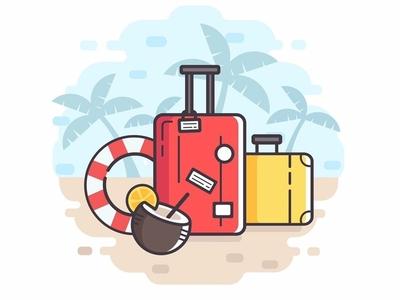 Travel illustration sea palm beach summer design case cartoon baggage art vector adobe illustrator illustration flat