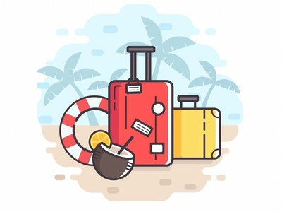 Travel illustration sea palm beach summer design case cartoon baggage art vector adobe illustrator illustration flat