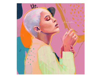 Breathe drawing hands illustration face illustration portrait pink artist logo irina nikolaeva woman illustration fashion designer colors character design abstract fashion illustrator illustration illustration art fashion illustration