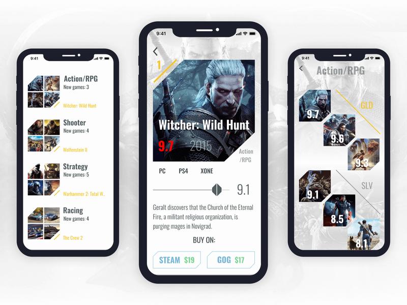 Video games recommendation app uiuxdesign ratings witcher recommendation game app gaming app gaming uiux application app uxui ux figma ui