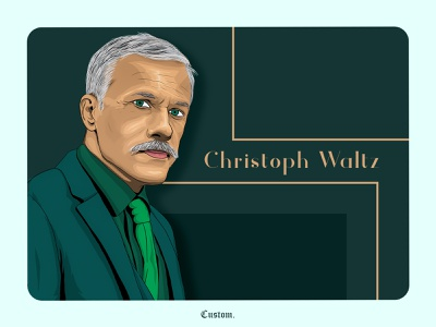 Christoph waltz vector illustration legends face portrait art web ux ui digitalart design fresco illustraion vector christoph waltz