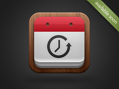 Countdown Me 2 Icon apple riverstone wood red calendar countdown ios app icon iphone