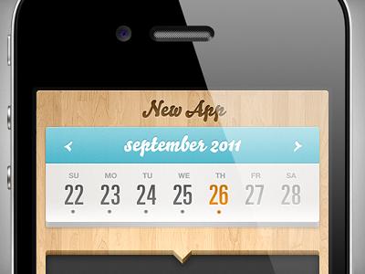 New app design app iphone ios apple mobile wood calendar ui