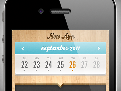 New app design app iphone ios apple mobile wood calendar ui
