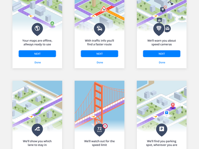 Sygic onboarding animation directions navigation travel app map street city ui principle animation onboarding
