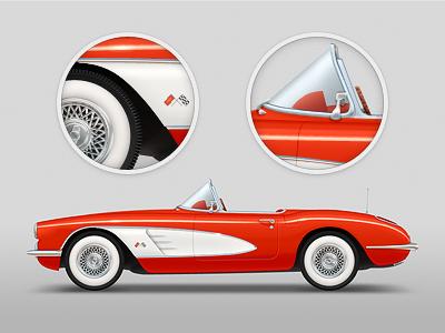 Chevrolet Corvette 1958 chevrolet corvette classic car 1958 red cabriolet chrome tire photoshop illustration vector chevy
