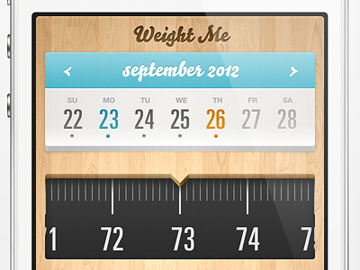 Weight Me iPhone App iphone app ui apple ios wood calendar mobile weight scale tracking
