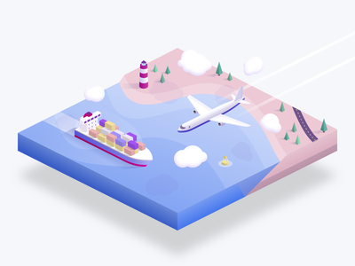 Shipping diorama principle plane boat shipping coast illustration landscape sketch isometric animation delivery aircraft ship