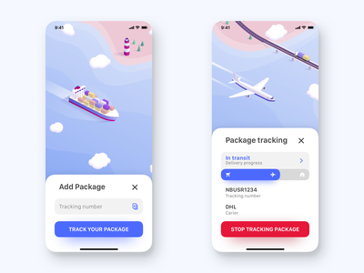 Package tracking app skech principle sea loading input tracking plane delivery package ship parallax isometric animation ui card app
