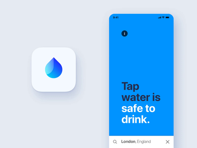 App search fluid transition app icon motion animation design white space travel bold typography ui liquid fluid transition icon safety drinking search water iphone ios app