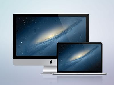 [PSD] iMac + MacBook Retina apple macbook imac pro retina psd photoshop icon icons free freebie vector laptop os x mac